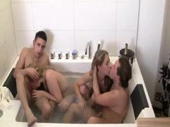 Two couples fuck in bathroom and bedroom tubes