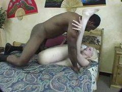 Milky white blonde teen takes black dick tubes