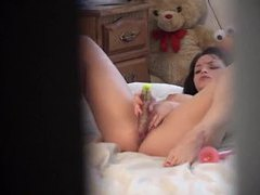 Girl with pierced nipples uses toys in voyeur video movies