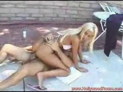 Giving blonde bikini girl a fuck on pool deck videos