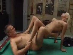 Heavily tattooed blonde fucked on pool table movies