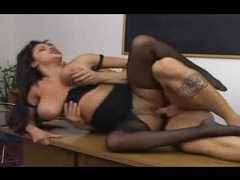 Chick in ripped pantyhose fucked on her desk movies at kilopics.net