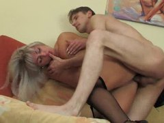 Blonde mature in black gets cock in her box movies at lingerie-mania.com