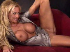 Blonde bimbo ashley lawrence in shiny dress movies at freekilosex.com