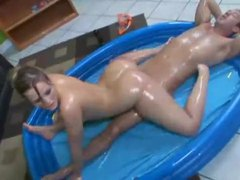 Chick is all oiled up and riding a dick videos