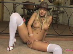 Anette dawn strips from cute cowgirl dress movies at freekilomovies.com
