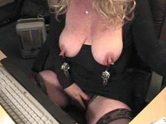 Hanging weights off nipples in webcam clip videos