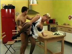 French maid in kitchen fucked in ass movies at sgirls.net