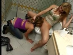 Submissive eats femdom pussy in the bathroom movies