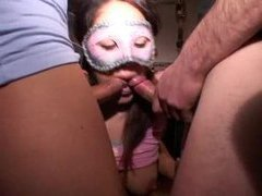 Pretty masked girl getting hard dicks movies at sgirls.net