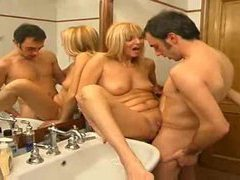Pierced clit milf gets fucked in bathroom movies at adipics.com