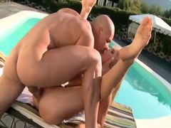 Gorgeous poolside fuck with skinny blonde clip