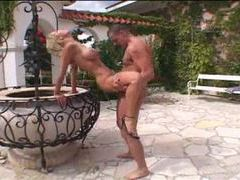 Sexy blonde milf taking dick in courtyard movies at freekiloclips.com