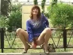 Using sex toys in a public park movies at kilosex.com