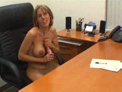 Secretary at desk gives pov handjob videos
