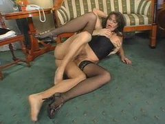 Hairy mature in stockings sits on dick videos