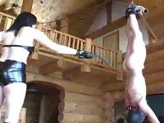 Mistress whips slave hanging upside down videos