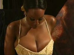 Black girl in ball gown plays with big tits videos