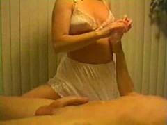 Blonde in white panties gives handjob videos