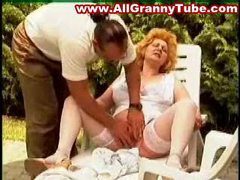Blonde mature fucked on lounge chair outdoors clip