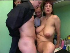 Mature lets three young men have her videos