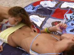 Brunettes playing on the beach movies at find-best-tits.com