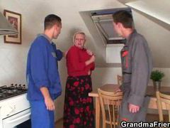 Busty granny lets handymen have her movies at find-best-lingerie.com