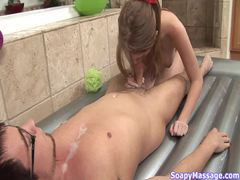 Soapy handjob and blowjob from redhead movies at kilopics.net