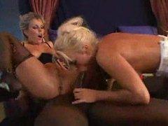 Strapon lesbians joined by a black guy videos