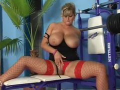 Lusty beauty on weight bench fucked lustily videos