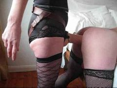 Sissy in stockings takes big strapon movies