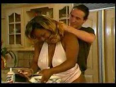 Fat black girl fucked in her kitchen videos