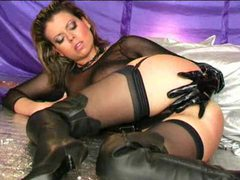Leather and lingerie on this hot masturbating girl movies at kilogirls.com