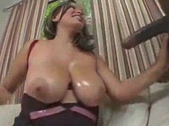 Hottie with big naturals goes black clip