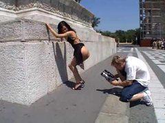 Luscious bimbo outdoors teasing videos