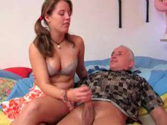 Old guy in ponytail gets handjob from cutie movies