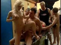 Five men and two sluts in gangbang videos