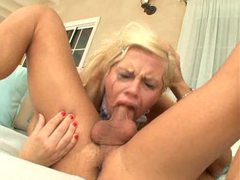 Blonde gagging during deepthroat videos