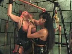 Lesbian femdom in the dungeon is sexy clip