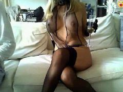 Blonde modeling her amazing black lingerie movies at kilosex.com