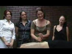 Three girls watch a handjob being given videos