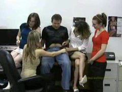Four office babes play with his dick videos