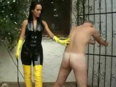 Mistress strapon fucks a slave outdoors movies