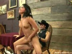 Shaved and horny cowgirl with dark hair tubes