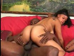 Black girl takes his long ebony pole tubes