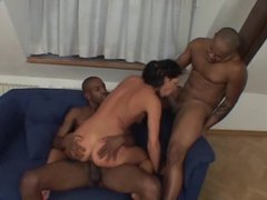 Two black men fuck this horny slut videos