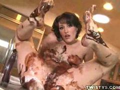 Naked skinny chick covered in chocolate sauce videos