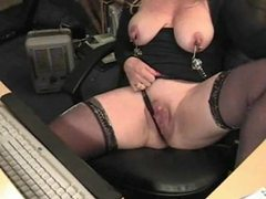 Mature in nipple clamps at her desk movies at find-best-mature.com