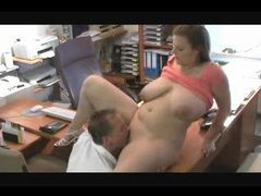 Chubby girl in couple fucked in home office tubes