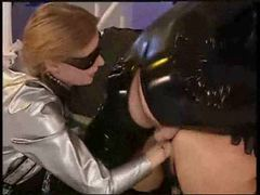 Latex fetish group scene with fisting videos